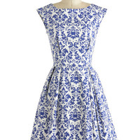 Closet French Mid-length Cap Sleeves Fit & Flare Be Outside Dress in Delft