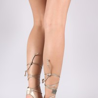 Vegan Leather Lace-Up Thong Wedge Sandal