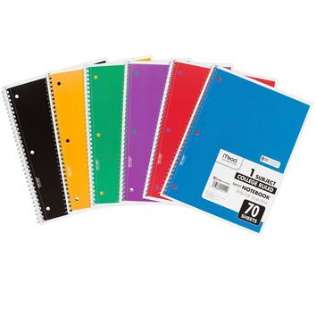 Notebook Spiral Single 70 Sht Ct Subject Assorted Colors