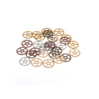 Steampunk charm Five Color Plated Vintage Metal Zinc Alloy Gear Charm Jewelry Gear Jewelry Findings (50 pieces/lot) 15mm F0182