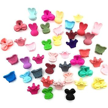 20 Pcs/Lot Solid Color Cartoon Shape Mini Small Hair Clips Girls' Hair Claw Jaw Toddlers' Side Hairpin Accessories