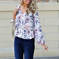 * Haylee Floral Print Blouse : Ivory/Mauve