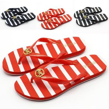 2018 Original MK women's word drag flat beach with non slip summer comfortable foot slippers