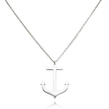 "TIONEER® Anchor Solid Sterling Silver Pendant Necklace with 16""+2"" Extension Sterling Silver Chain"