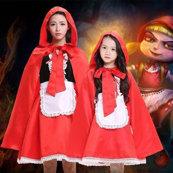 VONE05O 2017 new arrival children girl Little Red Riding Hood cosplay dress princess halloween costume DS clothing for adult kids