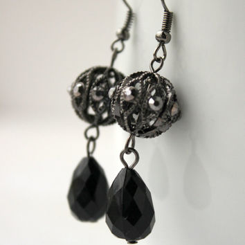 Vintage Style Black and Gunmetal Dangle Earrings with Gunmetal Crystals - 20s Style Earrings - Downton Abbey Inspired - Teardrop Earrings