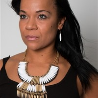 NATURAL GOLD SPIKE CHAIN NECKLACE & EARRING SET
