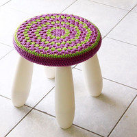 Crochet stool cover nursery decor, granny stool cover in purple and green for IKEA Mammut Stool, cover only