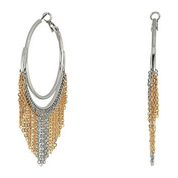 GUESS Hoop Earrings with Chain Fringe