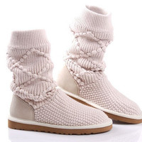fashion designer brand knitted boots Asian ethnic knitting wool handmade thermal flat shoes woolen yarn made for ladies