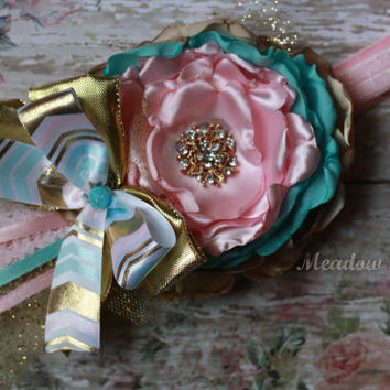 BABY HEADBAND, pink, gold, mint, aqua, over the top, couture, first birthday, toddler, newborn, silk, flower, sassy, chic, shabby, tea party