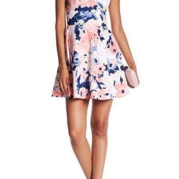 DCCKHB3 Love...Ady | Printed Fit & Flare Dress