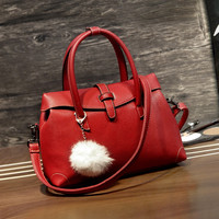 Red Crossbody Leather Handbag Shoulder Bag