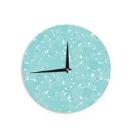 "Julia Grifol ""Turquoise Birds"" Aqua Blue Wall Clock"