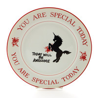 Unicorn birthday - you are special today - special plate - cake plate - vintage design with unicorn - child birthday - unicorns