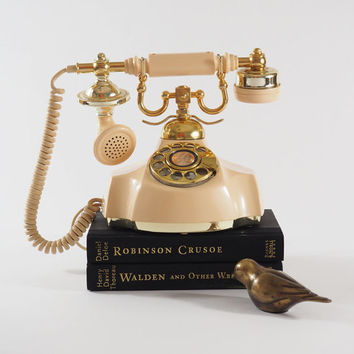 Vintage 1970's Electra Rotary Telephone // French Baroque or Victorian Style // Butter Yellow with Gold Brass Accents