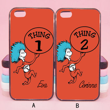 Custom Thing 1 and Thing 2 couple cases,iPod 5,iPhone 5s/ 5c/5/4S/4 ,Samsung Galaxy S3/S4/S5/S3 mini/S4 mini/S4 active/Note 2/Note 3