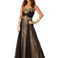 Sweetheart Style Black Chiffon Champagne Satin Formal Gown