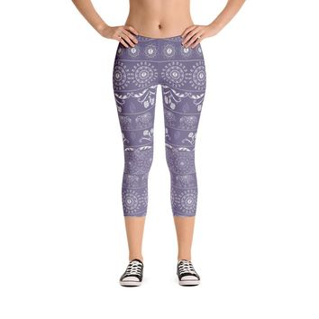 Elephant Mandala in Purple Capri Leggings