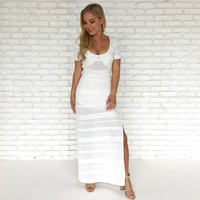 Paradise Knit Maxi Dress In White