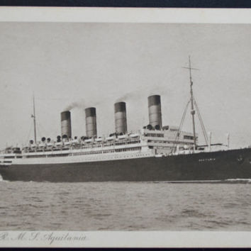 Real Photo Postcard RMS Cunard Liner Aquitania,Printed Photo Postcard, RPPC Ship, Printed Photo Ships. Ships Postcard