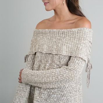 Taupe Off the Shoulder Sweater