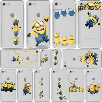 ciciber Phone Cases Despicable Me 3 Yellow Minions Design Soft Silicone Clear TPU Case Cover for Iphone 6 6S 7 8 Plus 5S SE X