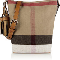Burberry London - Brit mini leather-trimmed checked canvas shoulder bag