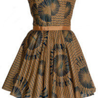 Style Icon's Closet 50s style Vintage Inspired Pin-Up African Print Retro Rockabilly Clothing — African print Gold and Navy tribal dress