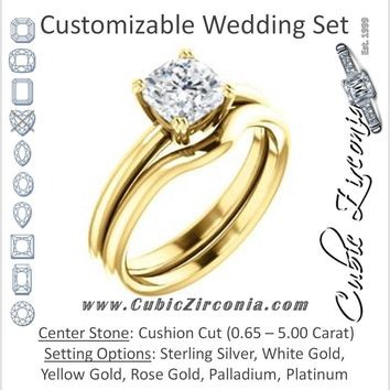 CZ Wedding Set, featuring The Venusia engagement ring (Customizable Cushion Cut Solitaire with Thin Band)