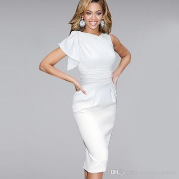Factory Price: Cocktail dress Women Beyonce Elegant Ruffle Sleeve Party Wear To Work Fitted Stretch Slim Wiggle Pencil Sheath Dress 9010CL