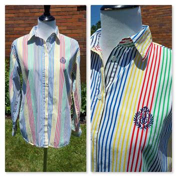 80s Stripe Button Down Multi-Color Shirt With Embroidered Insignia, 100% Cotton, Long Sleeve, Preppy