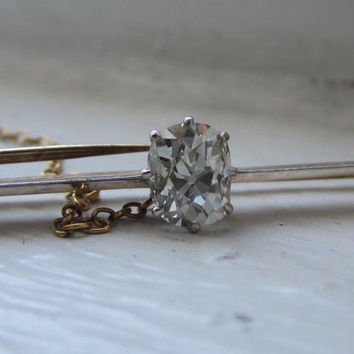 RESERVED Antique 1.04 ct Old Mine Cushion Cut Diamond 15K Gold Platinum Bar Brooch Pendant Pin Victorian Solitaire Diamond 1800-1900 Era