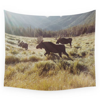 Society6 Three Meadow Moose Wall Tapestry
