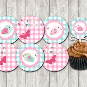 Chic Garden Baby Shower Cupcake Toppers Printable Party Cupcake Toppers DIY Party Toppers