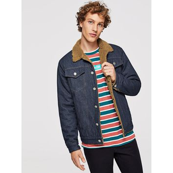 Men Button & Pocket Front Denim Jacket
