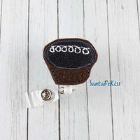 Chocolate Cupcake ID Badge Holder - Embroidered Felt Badge Reel - Retractable ID Badge Holder - Badge Reel Clip - Medical Badge