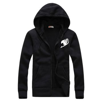 2016 Hoodies Men Sudaderas Hombre Hip Hop Mens Brand Fairy Tail Leisure Zipper Jacket Hoodie Sweatshirt Slim Fit Men Hoody XXL