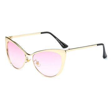 ROYAL GIRL High Quality Metal Super Cute Cat Eye Sunglasses Women Brand Designer Vintage Retro Glasses Fashion Girls Sun shades