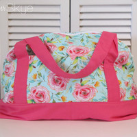Fleurologie Floral Weekender with Pink Straps and Interior - Diaper Bag - Overnight Bag - Carryon