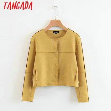 Trendy Tangada Fashion Women Yellow Suede Leather Jackets Button O neck Long Sleeve Ladies Casual Brand Mujer Outwear XZ30 AT_94_13