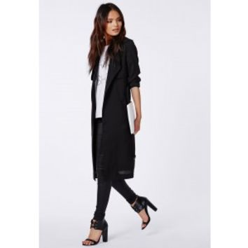 Missguided - Hennie Lightweight Trench Coat Black