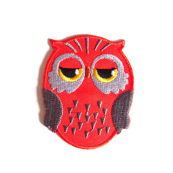 Owl/ Family/ Red/ Iron on Patch/ Etsy/ Patches/ Applique/Embroidery/ Kids