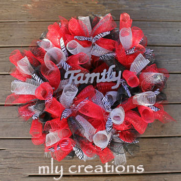 Zebra Print Deco Mesh Wreath, Animal Print Wreath, Leopard Print Wreath, Year round wreath, Black White & Red Wreath, Door Decor, wedding