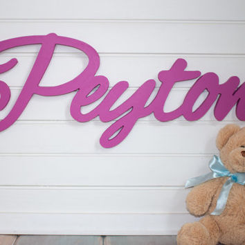 wooden name sign Name Plaque Large PAINTED photo prop Personalized baby name wall hanging nursery decor wooden wall art above a crib