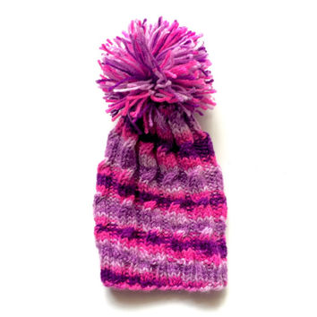 Pink and purple girl hat - toddler hat - pom pom girly hat - girly girl knitted hat - pink and purple accessories