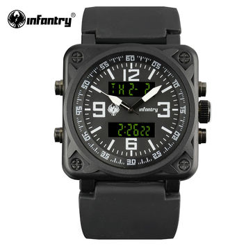 Mens Quartz Watches Top Luxury Sport Digital Male Clock Square Face Dual Time Military Watch