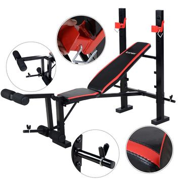 Costway Red Adjustable Weight Lifting Flat Incline Bench Fitness Body Workout