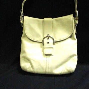 Auth COACH Soho Small Duffel 9481 White Leather Shoulder Bag