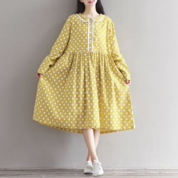 LARGE SIZE DOLL COLLAR WAVE LONG SLEEVES COTTON AND LINEN DRESS
